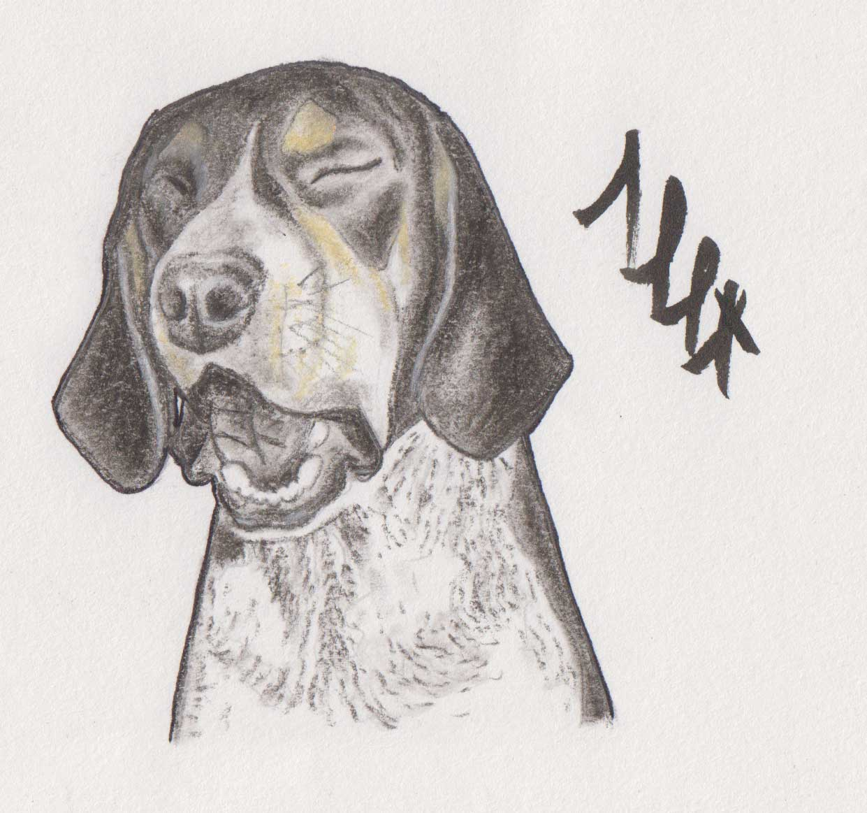 Disappointed dog painting by Alessandro Bruno.