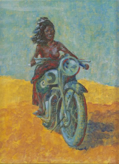 Baby you can drive my bike, painting by Alessandro Bruno.