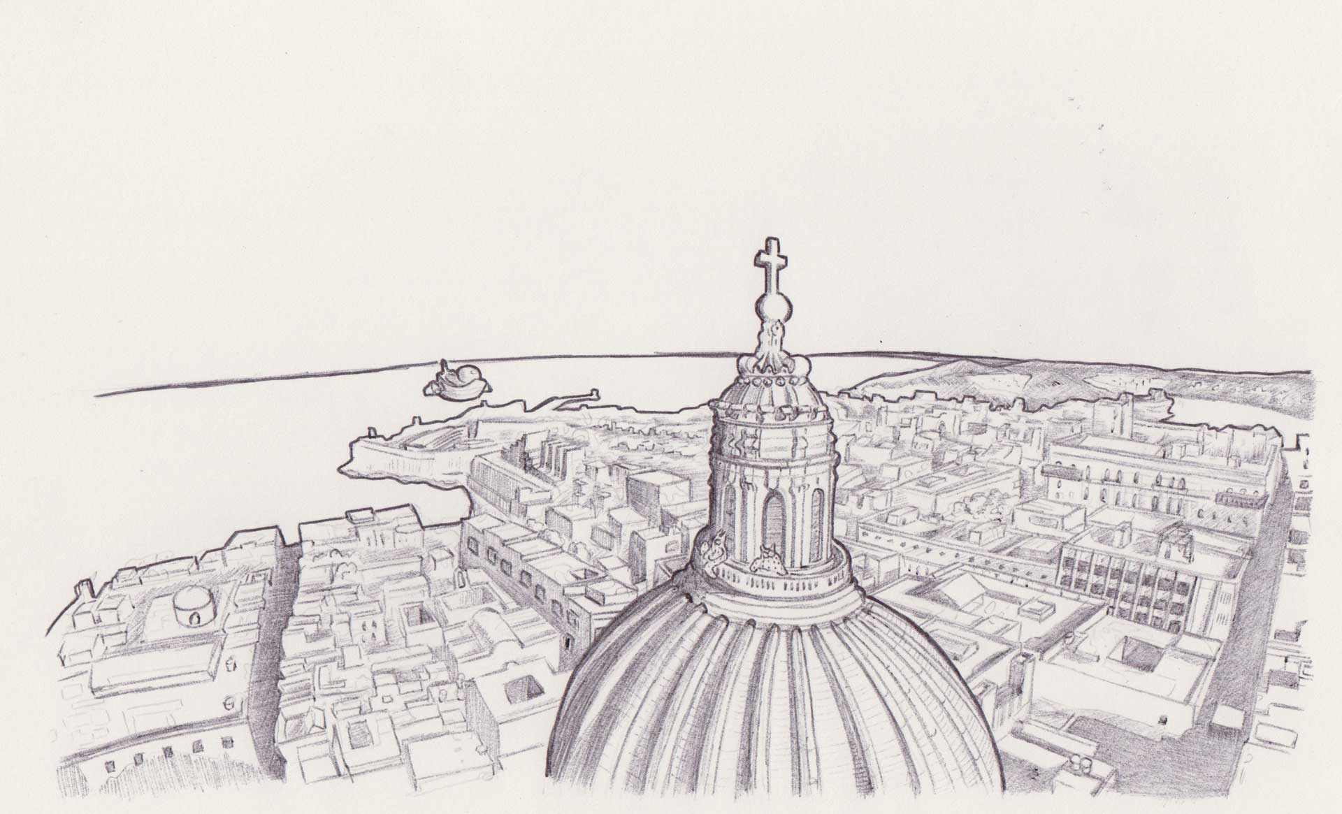 Alien on Valletta roof with space luzzu, Mixed media on paper by Alessandro Bruno