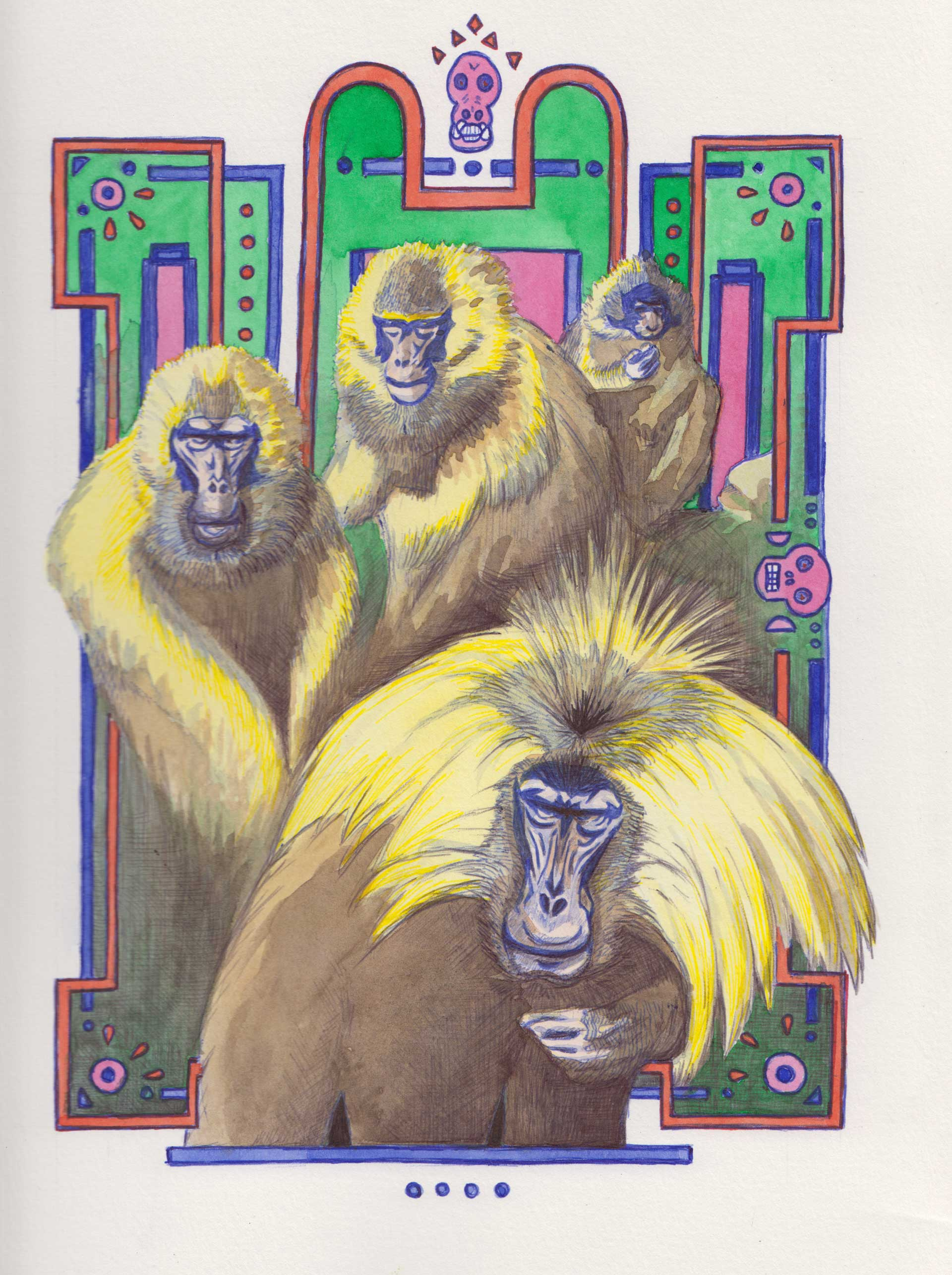 Baboons on an art deco setting, painting by Alessandro Bruno.