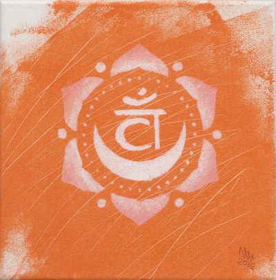 Sacral Chakra painting by Alessandro Bruno. 2016, Egg tempera on canvas, 20cm by 20cm.