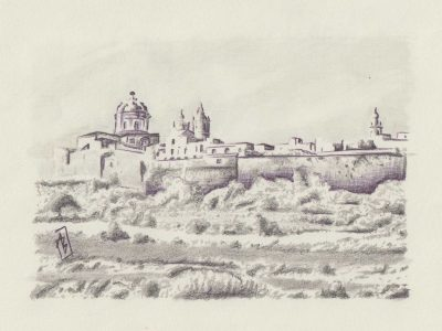 Mdina, painting by Alessandro Bruno.