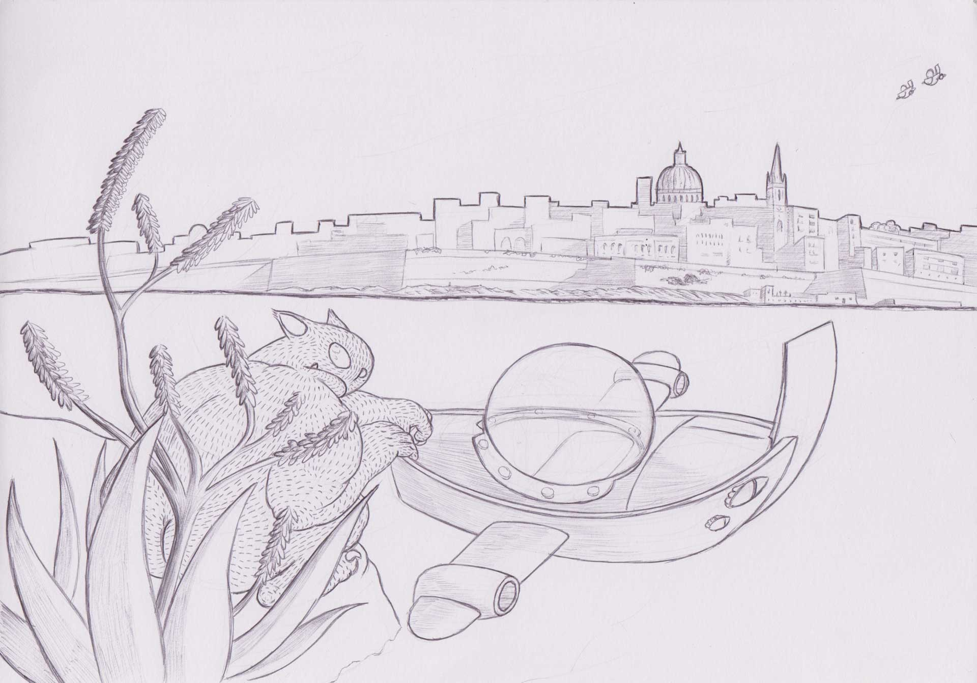 Alien looking at Valletta, Mixed media on paper by Alessandro Bruno