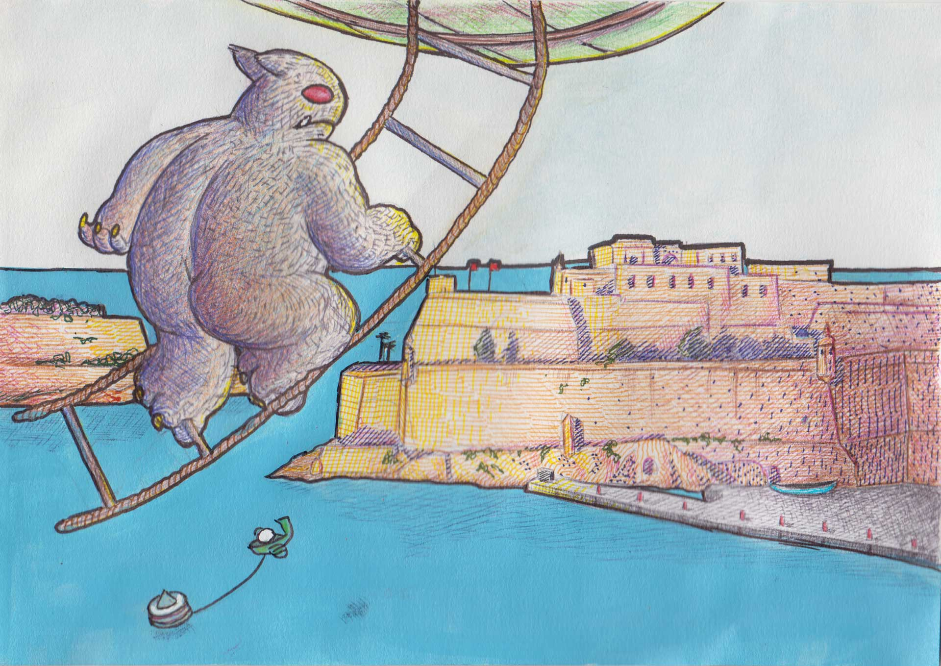 Alien in fort sant'angelo, birgu, Mixed media on paper by Alessandro Bruno