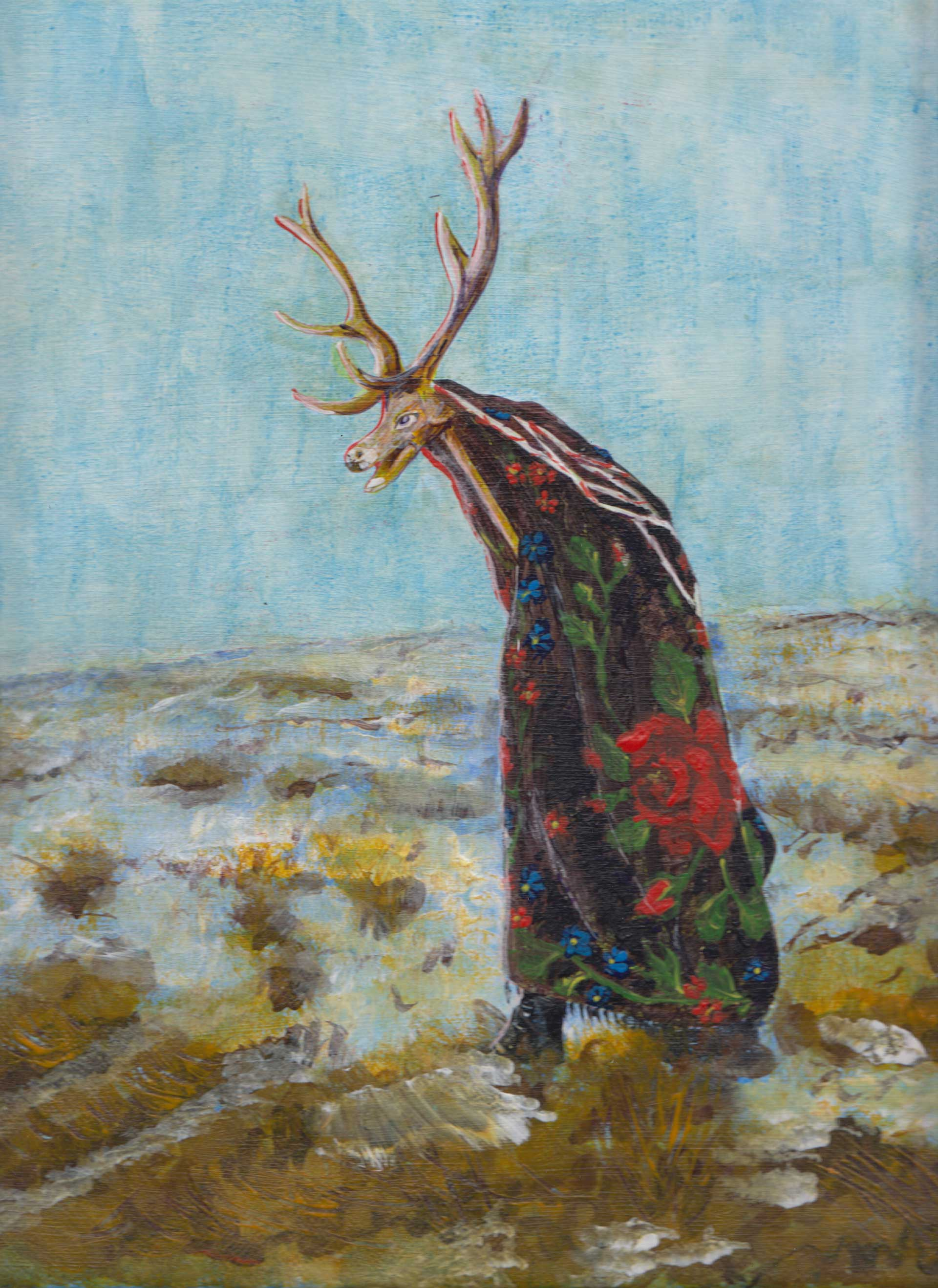 Deer masquerade, painting by Alessandro Bruno.