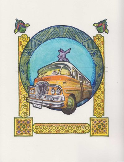 Alienbus, Mixed media on paper by Alessandro Bruno