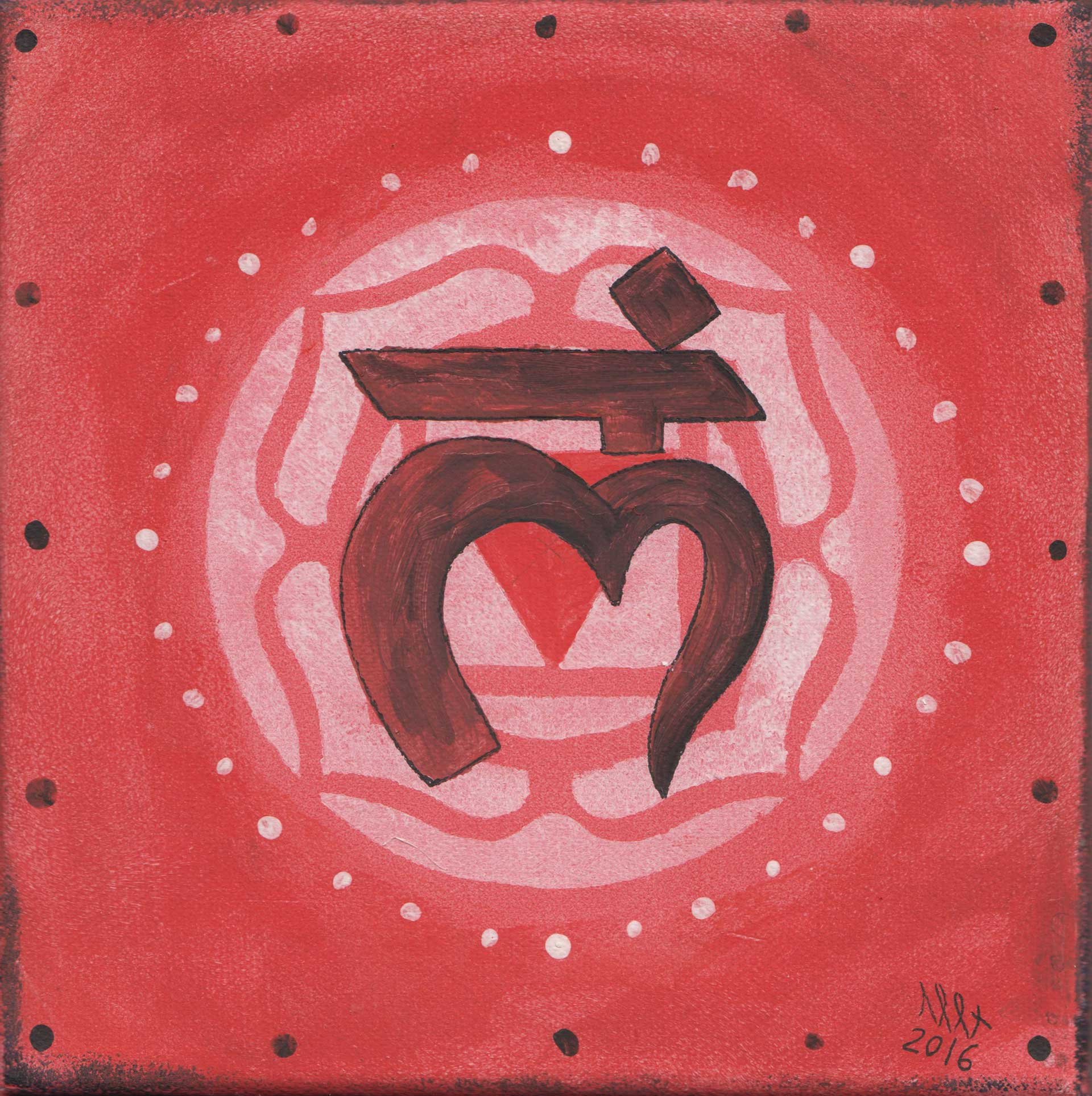 Root Chakra 02 painting by Alessandro Bruno. 2016, Egg tempera on canvas, 20cm by 20cm.