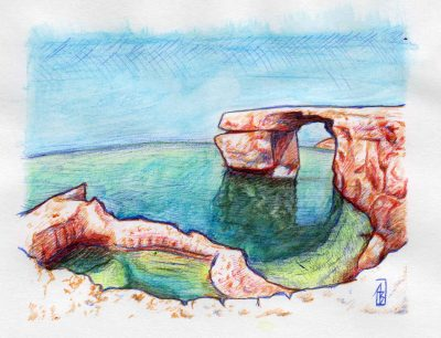 Azure Window 1, painting by Alessandro Bruno.